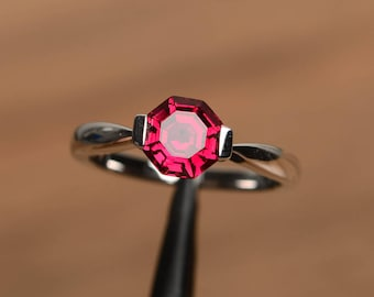 ruby ring anniversary ring July birthstone octagon cut red gemstone sterling silver solitaire ring