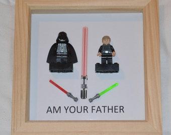 Luke and Darth Vader (Star Wars) Minifigures in a natural box picture frame
