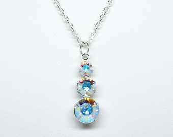 Swarovski Crystal AB Graduated Round Faceted Triple Drop Pendant on a Sterling Silver 925 18 Inch necklace chain.