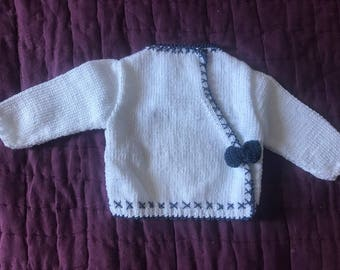 Blue and white Cardigan with bow