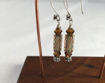 Art Glass Earrings Clear with Black and White Stripe Handmade Furnace Glass Beads and Swarovski Crystals