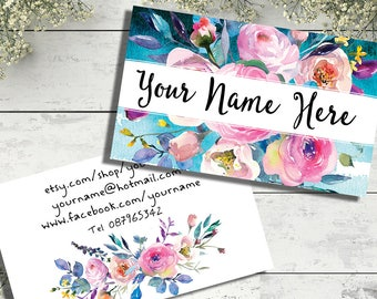 Customsed business card design watercolour floral bouquet modern feminine graphics pink flowers bright colors