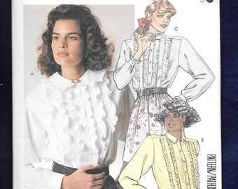Vintage 1980's McCall's 3266 Misses' Blouses With Vertical Ruffle Front, Button Front, Pointed, Stand Up Or Peter Pan Collar, Size 12, UNCUT