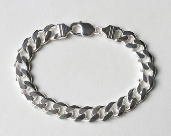 Men's sterling silver curb link bracelet