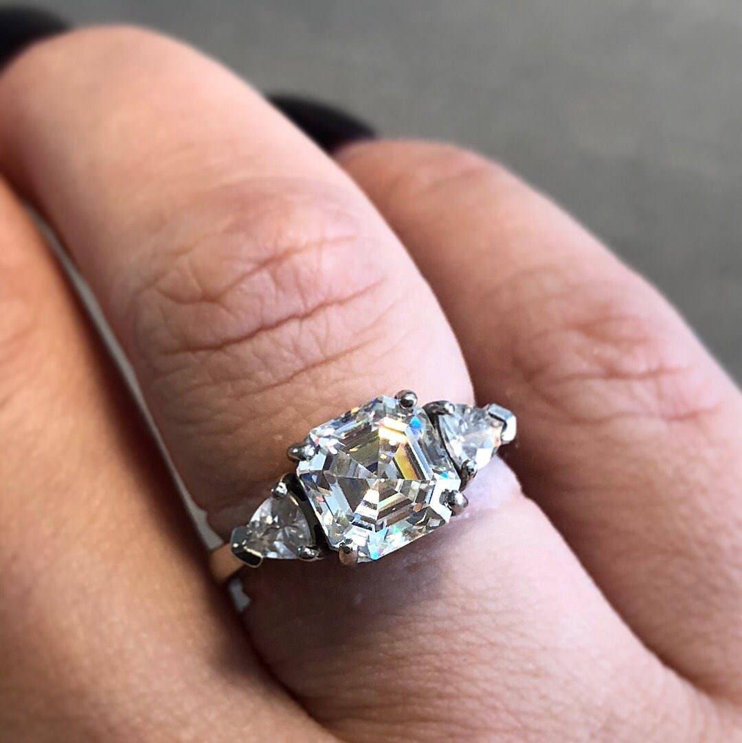 Crown Jewel ! 3.25ct Asscher Cut Strontium Titanite And .51ctw ...
