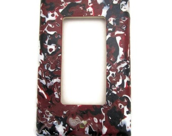Light Switch Cover, Single Switch Plate, Rocker Switchplate, Red, Black and White