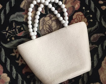 Vintage Talbot White Purse Beaded Handles / Talbot Straw White Purse with Beaded handles / White Summer Purse / Women's Accessories