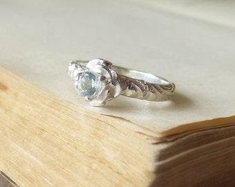 Promise Ring Flower Engagement Ring 4mm White Topaz Gemstone Ring Sterling Silver Sweetest Promise Ring Diamond Alternative Gift for her