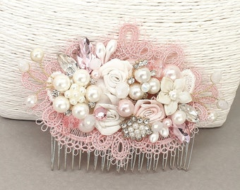 Pink Bridal Hairpiece- Rose Pink Bridal Comb- Bridal Hair Accessories- Sweetheart Pink Fascinator- Pink Hair Clip- Lace Comb- Brass Boheme