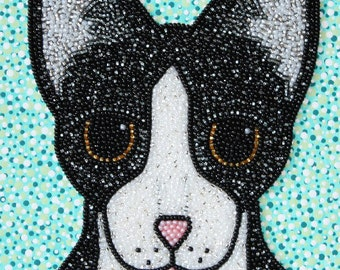 """Beaded """"Felix"""" Tuxedo Cat Artwork"""