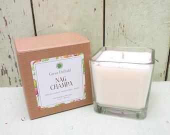 Nag Champa - 12 oz. Glass Cube - Green Daffodil - Hand poured -CG