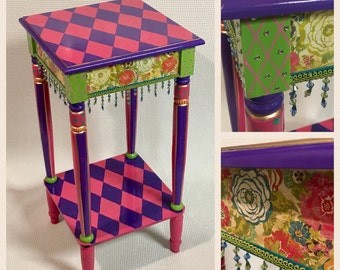 Beau Whimsical Painted Furniture, Hand Painted Furniture Table, Harlequin  Tablepainted Furniture