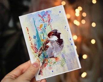Bird Lover Gift Men Women. Bird Art. Bird Art Print. Painted Bird Print. Unique Bird Art. Twitcher Gift. Bird Gifts for Women. SPARROW ART.