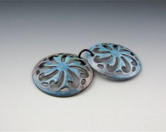 Enameled Pinwheel Filigree /  Aqua Enamel / Made to Order
