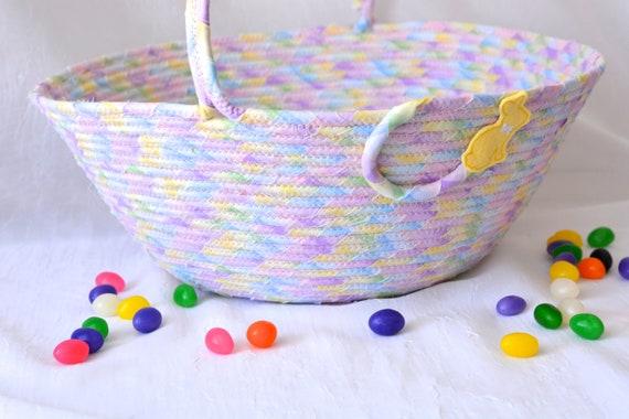 Violet Diaper Holder, Lavender Nursery Home Decor, Girl Easter Basket, Handmade Flower Girl Basket, Clothesline Coiled Art Basket