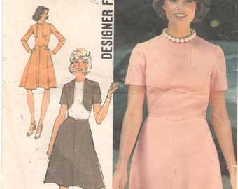 Simplicity 6145 1970s Misses  Designer Dress Contrast Faux Bolero Pattern Womens Vintage Sewing Pattern  Size 12 Bust 34