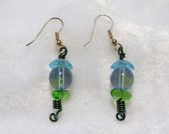 Blue to Green Earrings  E-087