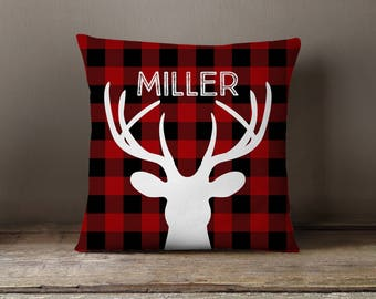 Kids Pillow, Nursery Pillow, Christmas Pillow, Holiday Decor, Pillow Cover, Cabin, Buffalo Check, Deer, Personalized, Lumberjack