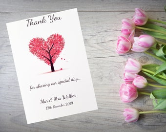 Personalised Wedding Thank You Cards with Matching Envelopes Pack Of 10 TY15