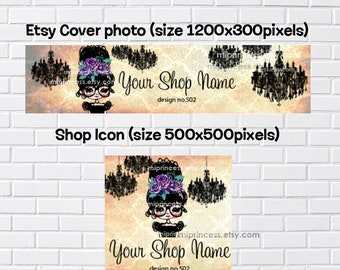 no502 - banner set, girl banner, with vintage rose frame Chandelier accessories banner set, business shop banner, cover image,