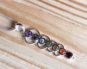 Artisan Sterling Silver Pendant / Necklace / Amethyst, Iolite,Topaz, Peridot, Citrine, Carnelian & Garnet / Chakra / Boho / Energy / Crystal