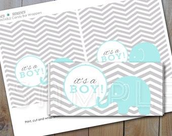 Candy Bar Wrapper / It's a Boy / Blue elephant, Grey chevron / Instant Download / PRINTABLE /  61028