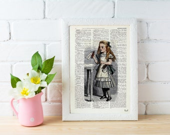 Alice in Wonderland Decor,Wall Print - Alice: drink me illustration wall art Print on Vintage Dictionary, gift ALW041