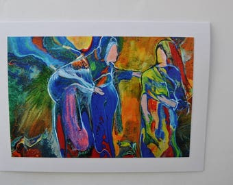"""Colorful, Biblical Greeting Card, Faceless Greeting Card, Baby Announcement, """"Mary and Elizabeth"""""""