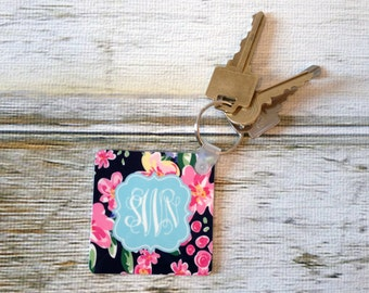 Custom Mary Beth Goodwin Design Key Chain - Choice of 18 Patterns, Frame, Monogram - Personalized Keychain, Key Ring