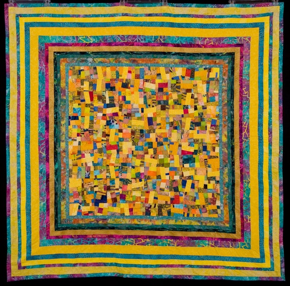 Fine Art Quilt in Yellows//Large Modern Art Quilt Wall Hanging
