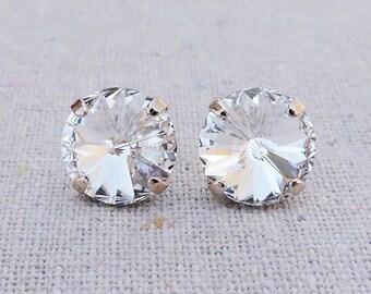 Swarovski Crystal Faux Diamond Spike Cut Round Chaton Rivoli Rose Gold Post Earrings Wedding Bridal Jewelry Bridesmaid Gifts