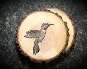 Rustic Hummingbird Set of 2 Natural Wood Coasters Mother's Day Gift