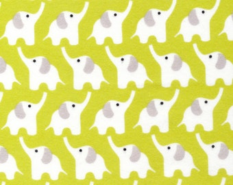 Organic Cotton FLANNEL Fabric - Cloud9 Fanfare Elephants Citron
