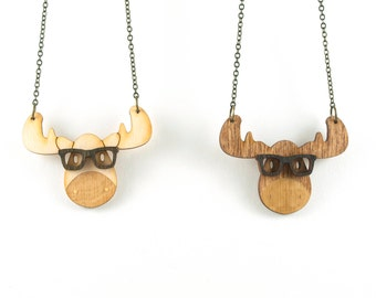 Nerd Moose Necklace - Handmade - laser cut - laser cut jewelry - jewelry