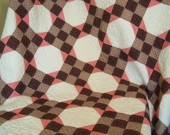 Vintage Bed Quilt Machine Quilted Snowball Pattern