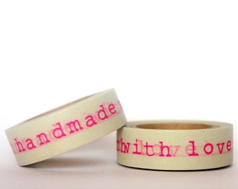 Neon Pink Handmade With Love Washi Tape