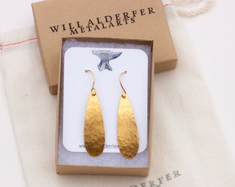 New Gold Teardrop Earrings - Forged Teardrop Earrings - Hammered Brass - Hammered New Gold - New Gold Teardrops