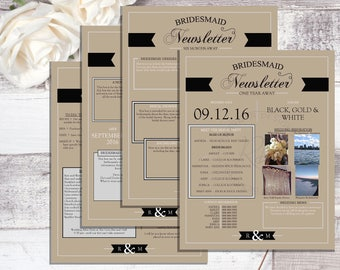 Bridesmaid Newsletter Package. Simply Charming. Instant Download. Wedding Timeline. Editable.