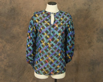 vintage 70s Blouse - Sheer Balloon Sleeve Poets Blouse - 1970s Abstract Plaid Shirt Sz M
