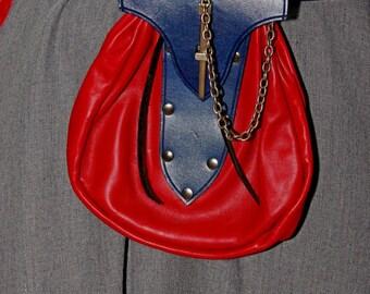 Large Renaissance Leather Belt Bag Red with Blue