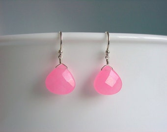 Pink Jade Earrings / Sweet / Simple / Candy Colored / Pastel / Pastel Pink / Gift for Her / Pretty / Gift for Women / Free Gift Wrap