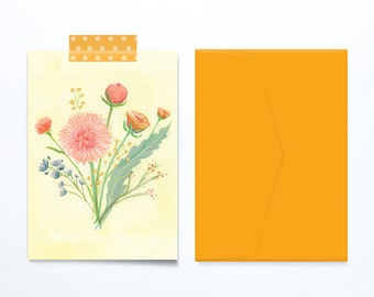 Mother's day card floral illustration flowers on yellow background