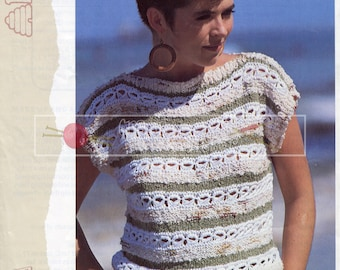 Lady's Sleeveless Top 32-38in Aran Patons 7894 Vintage Knitting Pattern PDF instant download