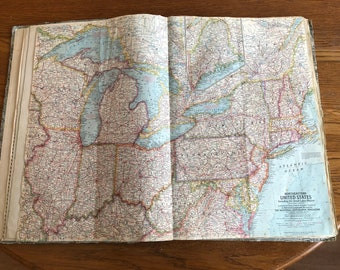 "Vintage 1959 National Geographic Map ""Northeastern United States"""