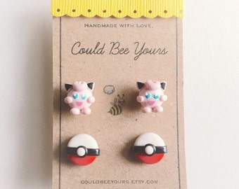 Jiggly Puff + Pokeball  Earrings