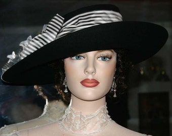Women's Kentucky Derby Hat Ascot Edwardian Tea Hat Titanic Hat Somewhere in Time Hat Downton Abbey Hat Black & White - Lady Olivia