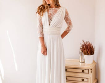 Long sleeve lace wedding dress, long sleeve wedding dress ready made, simple wedding dress with sleeves, high neck wedding dress, lace gown