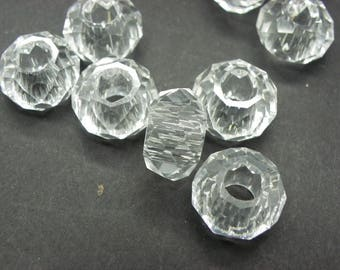 5 beads 14 mm Crystal European glass has faceted 8 mm white hole