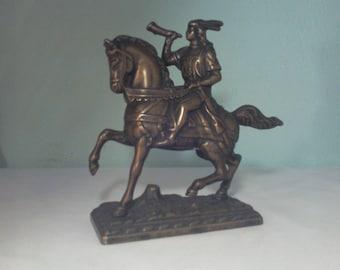 Rider on vintage bronze horse /figure soldier Horseback