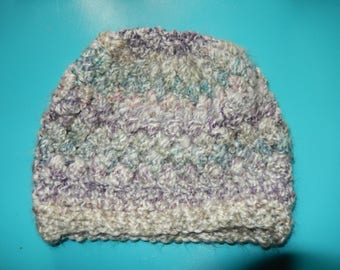 Puff Crocheted Gray with Teal and Purple Highlighted Beanie